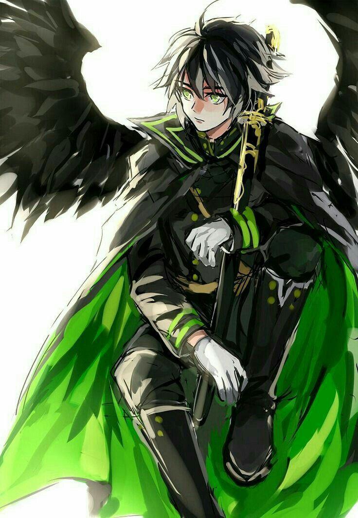 Anime boy black hair green cape angel wings sword