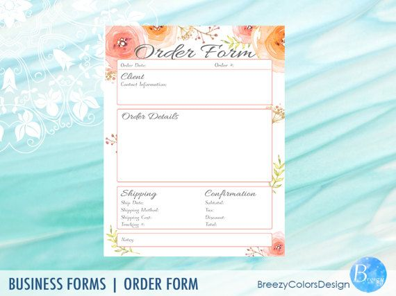 beautiful floral order form template Charming printable order form - paper order form
