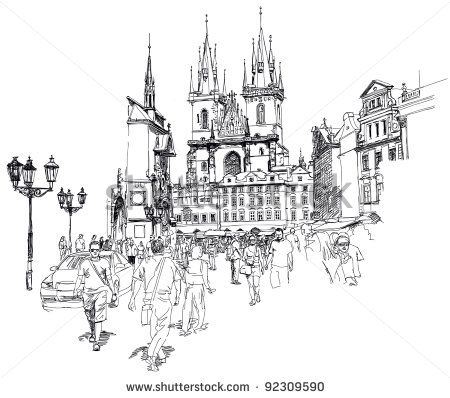 Old Town Square Prague Czech Republic A Vector Sketch Posters