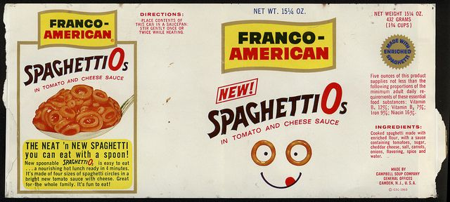 Campbell Soup Company - Franco-American - SpaghettiO's - NEW! - can label - 1965 by JasonLiebig, via Flickr