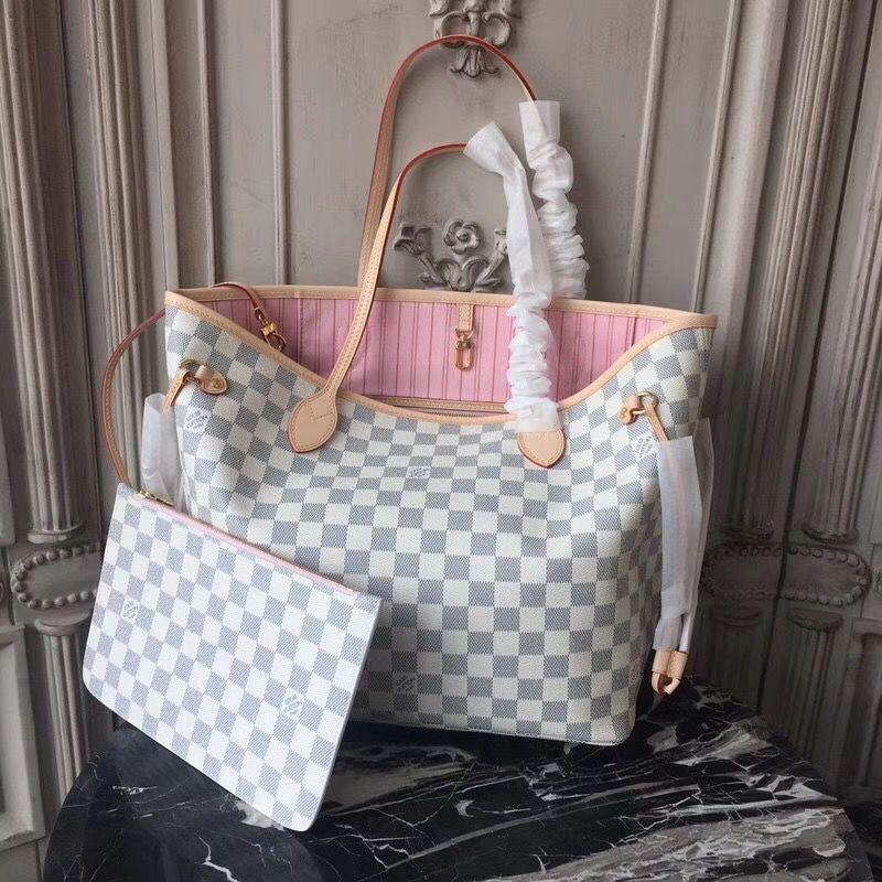 53d3fc9ecae Louis Vuitton N41605 Neverfull MM Damier Azur Canvas Rose Ballerine ...