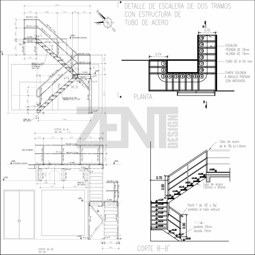Escaleras metalicas planos metal stairs for Plano escalera madera