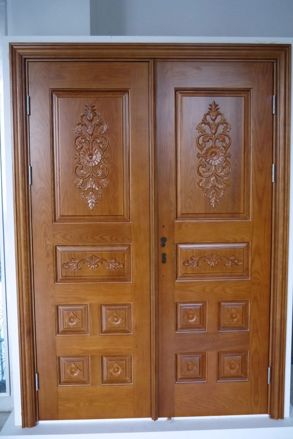 Teak Wood Front Double Door Designs