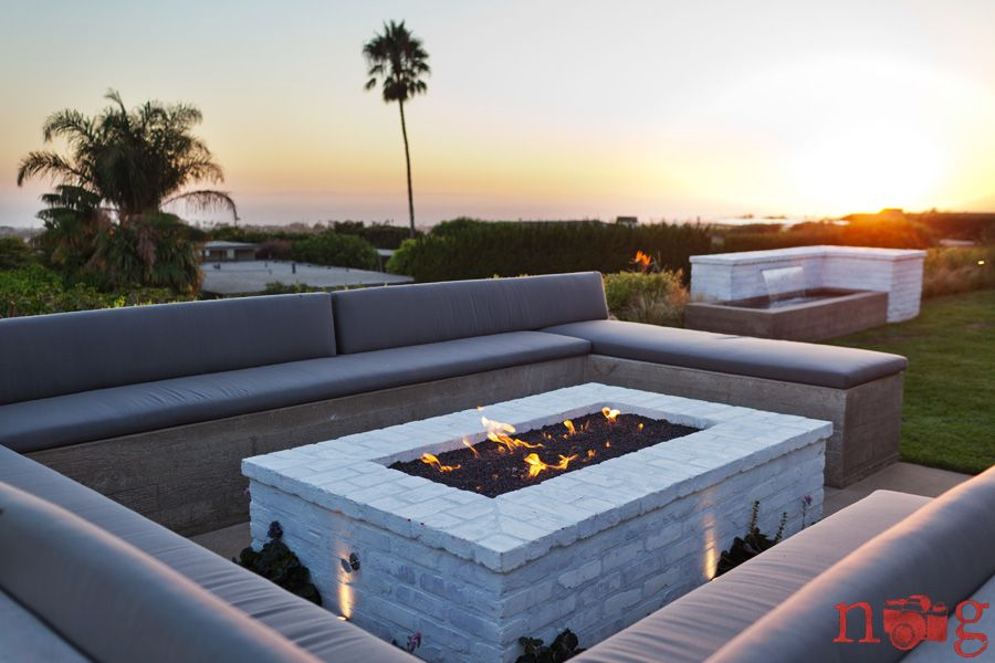 White Brick Fire Pit Fire Pit Patio Rectangular Fire