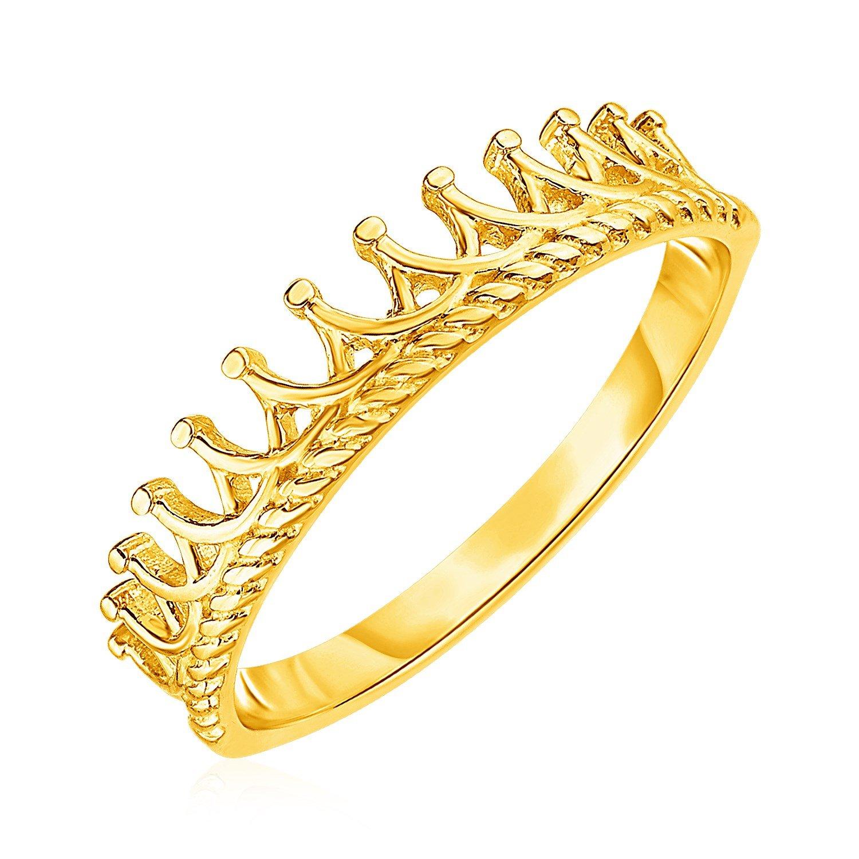 14k Yellow Gold Crown Motif Ring in 2020 14k yellow gold