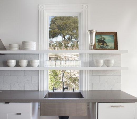 Small Kitchen Idea: Float Shelves Across A Window