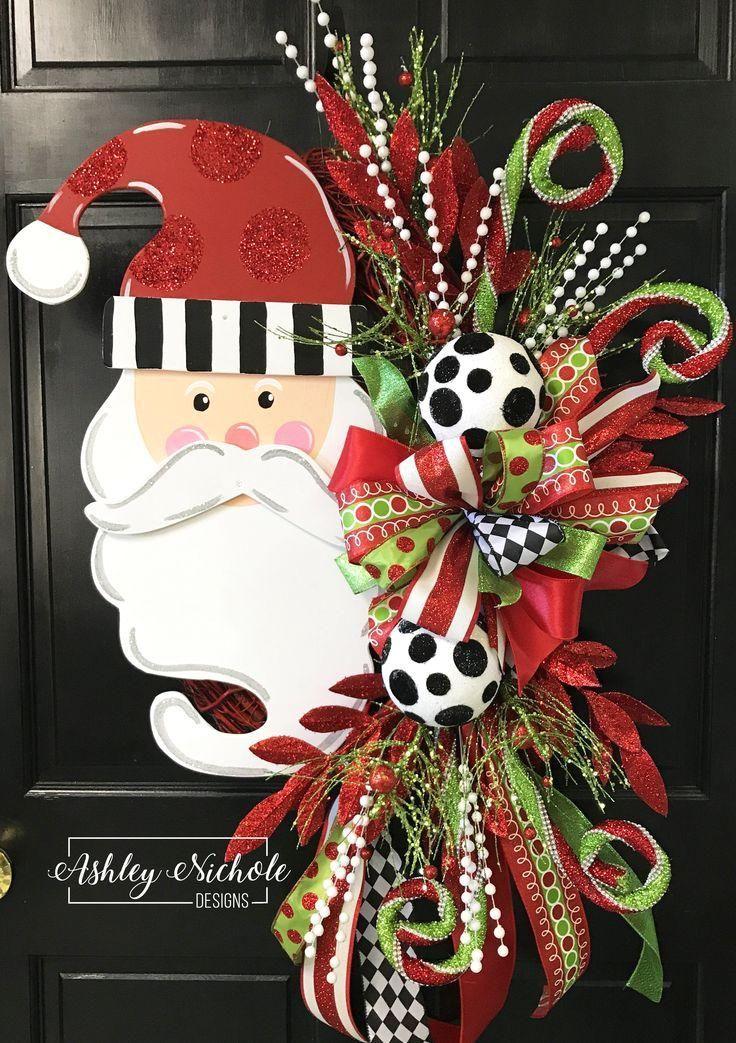 Santa Wreath - Oval - Glittered Hat : Santa Wreath - Oval - Glittered Hat #Christmasdecoration  #Santa #Wreath #Oval