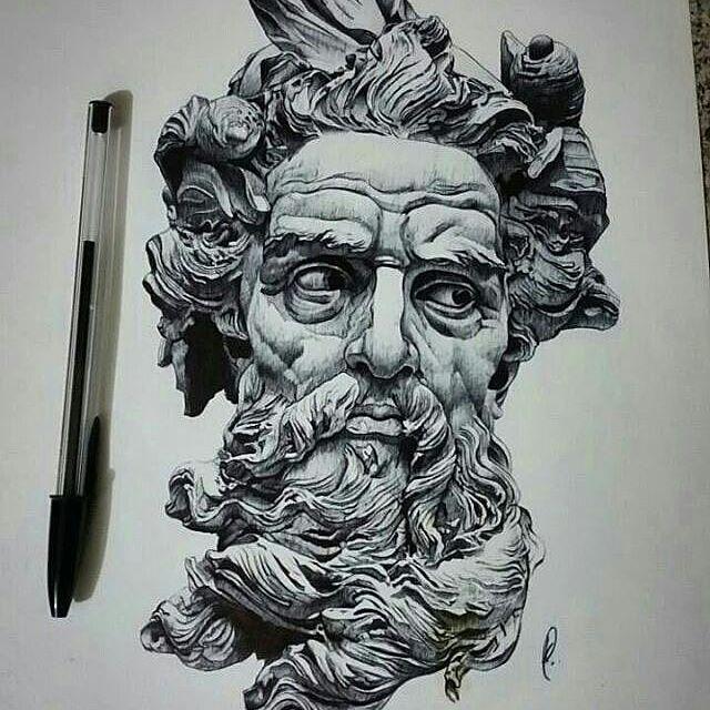 Repost from motiveartco  Poseidon pen drawing by artist