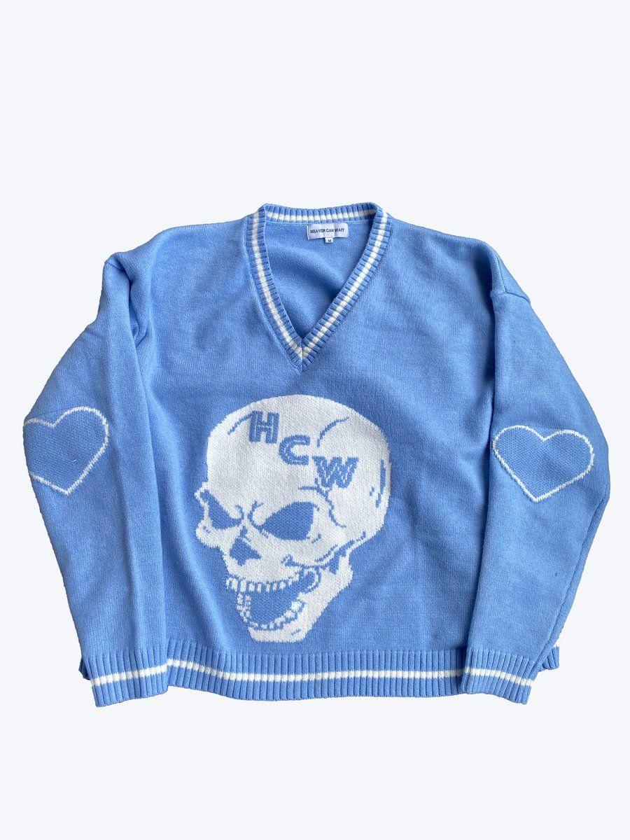 Skyfall Knit Heavencanwait Store Fashion Inspo Casual Blue Knit Sweater 6th Form Outfits
