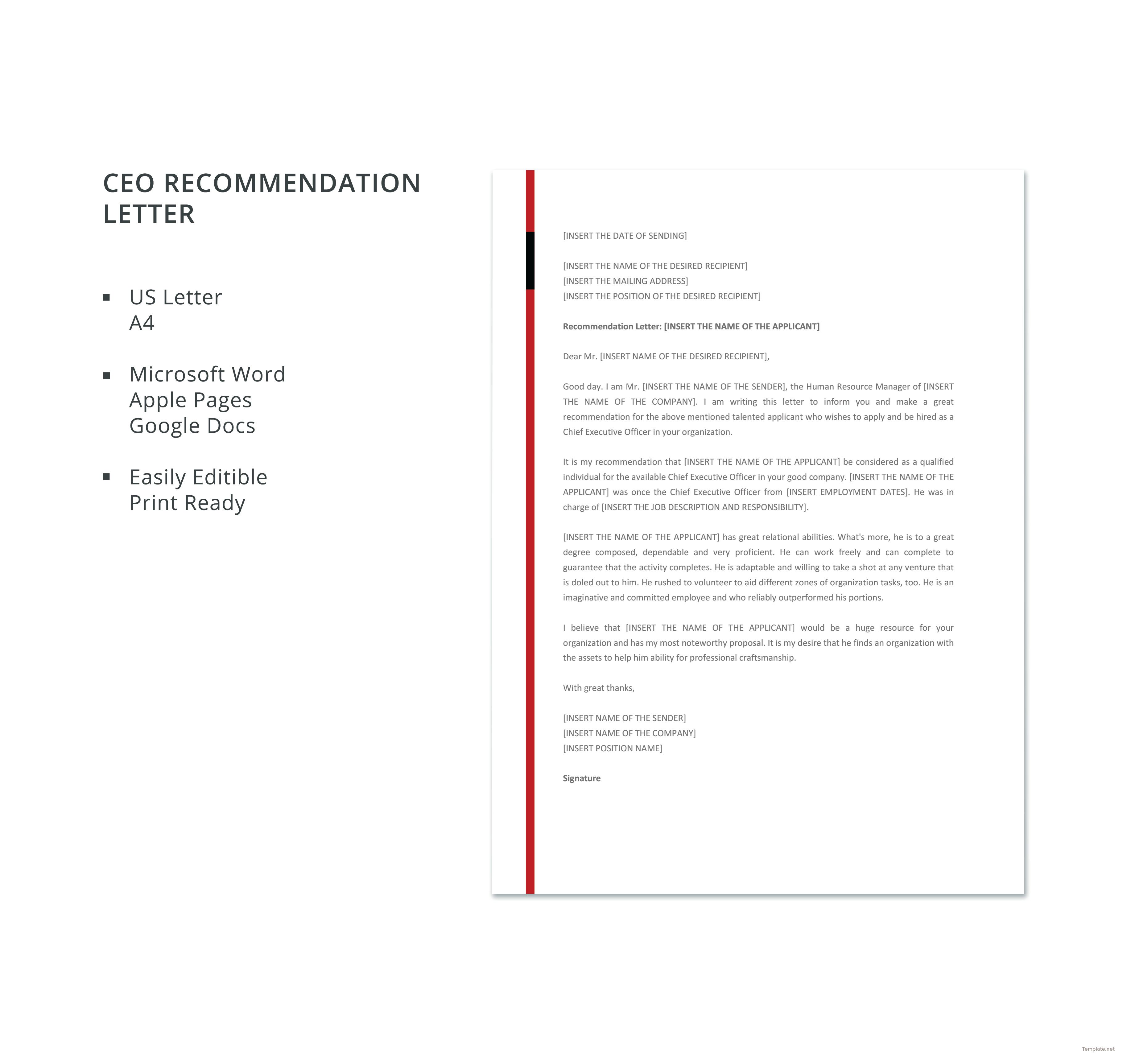 Free Recommendation Letter Template Interesting Download Ceo Recommendation Letter Template For Free In Ms Word .