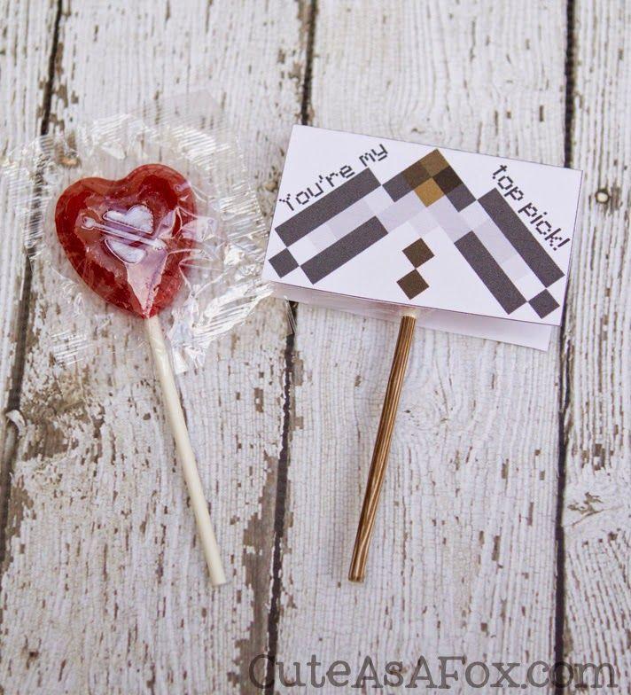 Cute As a Fox: Minecraft Pickaxe Printable Lollipop Valentines