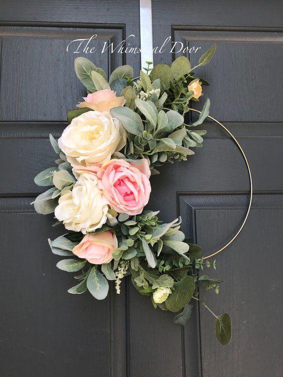 Photo of Boho hoop wreath Bohemian floral wreath Wedding wreath Bridal wreath Peasant wreath Floral hoop wreath Wreaths for the front door