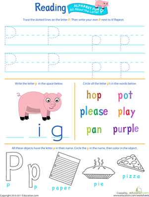 Introduce your preschooler to the letter P with this fun worksheet that's packed with reading, writing, and coloring activities.