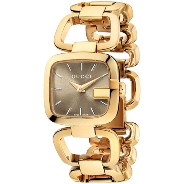 Gucci Ya125511 Women S I Gucci Square Yellow Gold Bracelet Watch Gold 880 Liked On Polyvore Aksesuarlar Saatler Gucci
