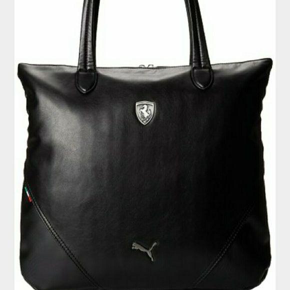 Puma Ferrari Black Leather Shopper Tote Bag NWT New with tag Authentic Puma  Ferrari shopper tote bag. Puma Bags a9ca8bd6c5984