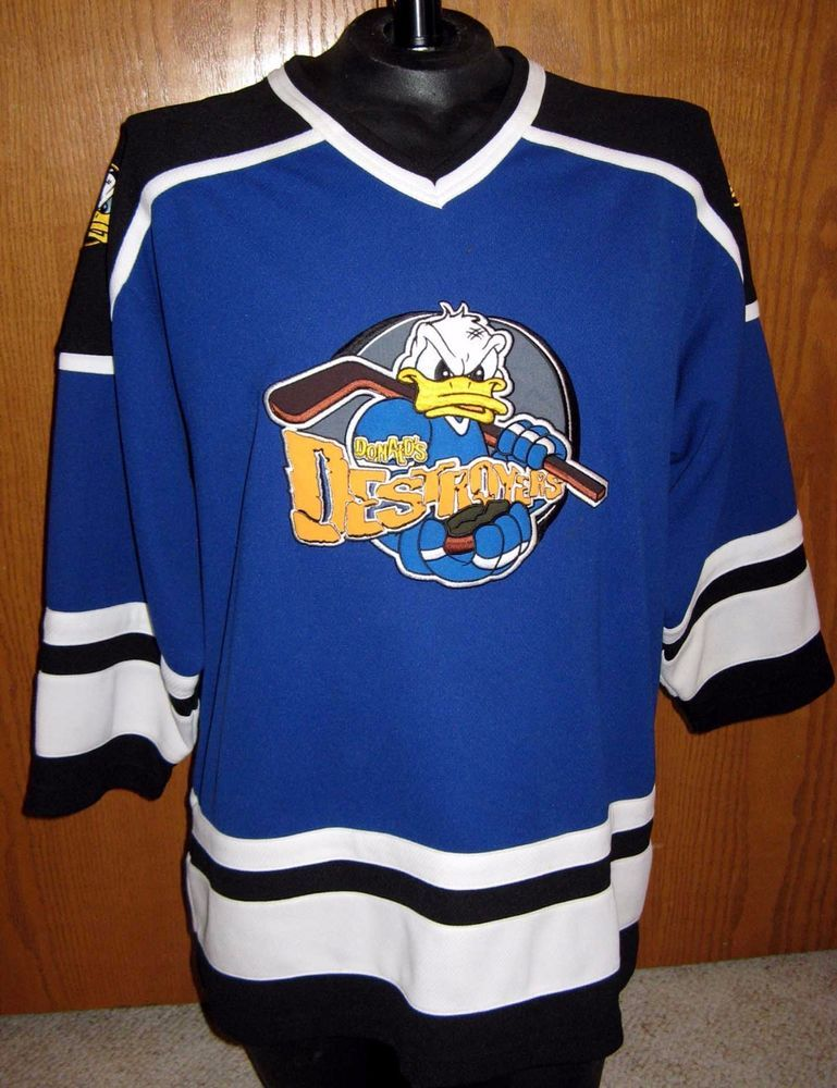 288dc701487 Disney Donald's Destroyers 34 Donald Duck Blue V-Neck Hockey Jersey Mens L  Large…