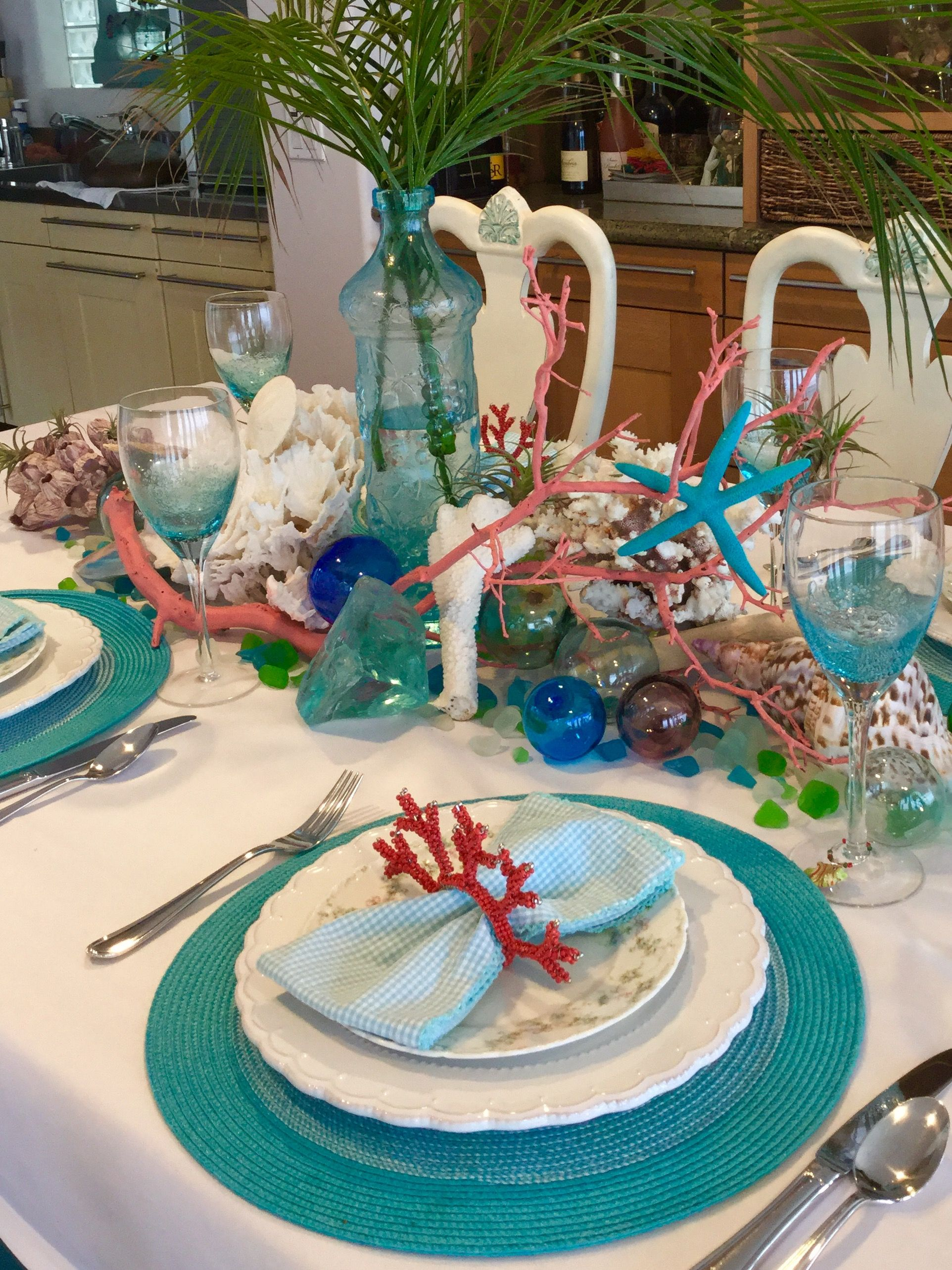 Coastal Table Setting Using Vintage Glass Floats With Images