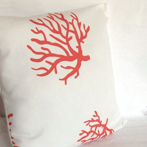 Coral Pillow Cover  18x18 inch Reef Decorative by PureHomeAccents, $18.00