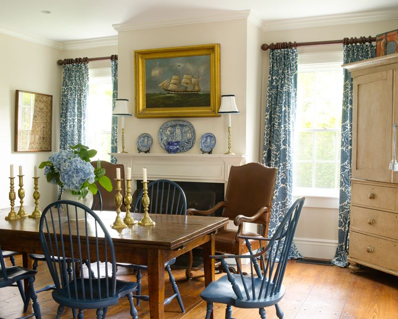 Marvelous Fireplace In The Dining Room   The Generous Space Includes A Hearthside  Dining Area Beyond The · Windsor ChairsNantucket IslandPainted ChairsBlue  ...