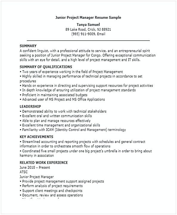 Junior Project Manager Resume , Resume for Manager Position , Many