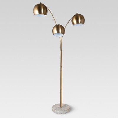 Span 3 Head Metal Globe Floor Lamp Includes Cfl Bulb