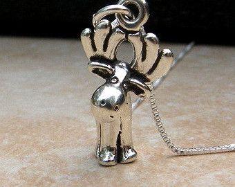 Moose necklace reindeer necklace pendant sterling by zoozjewelry moose necklace reindeer necklace pendant sterling by zoozjewelry aloadofball Images