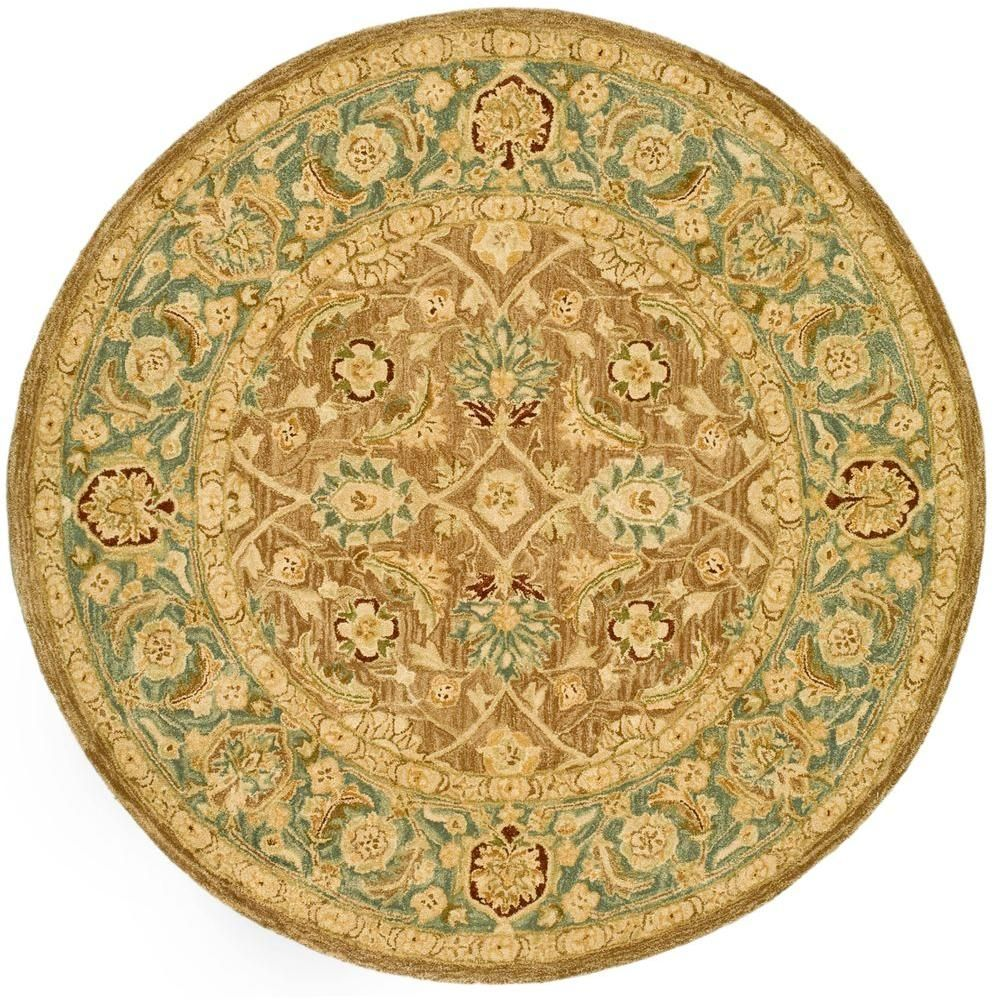 Anatolia Brown Blue 8 Ft X 8 Ft Round Area Rug Wool Area Rugs