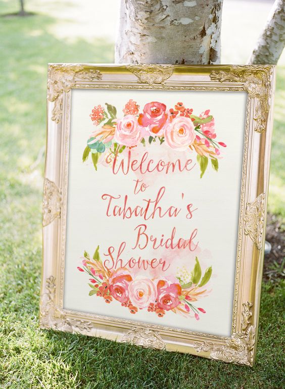 spring bridal shower sign idea watercolor floral motif welcome sign courtesy of etsy