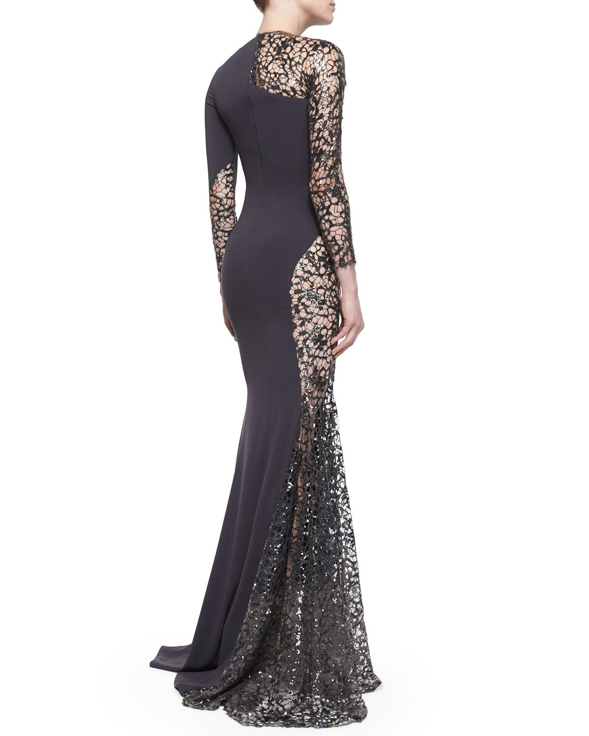Lined Sheer Sequined Lace-Inset Gown, Rubin Singer, $5490 ...