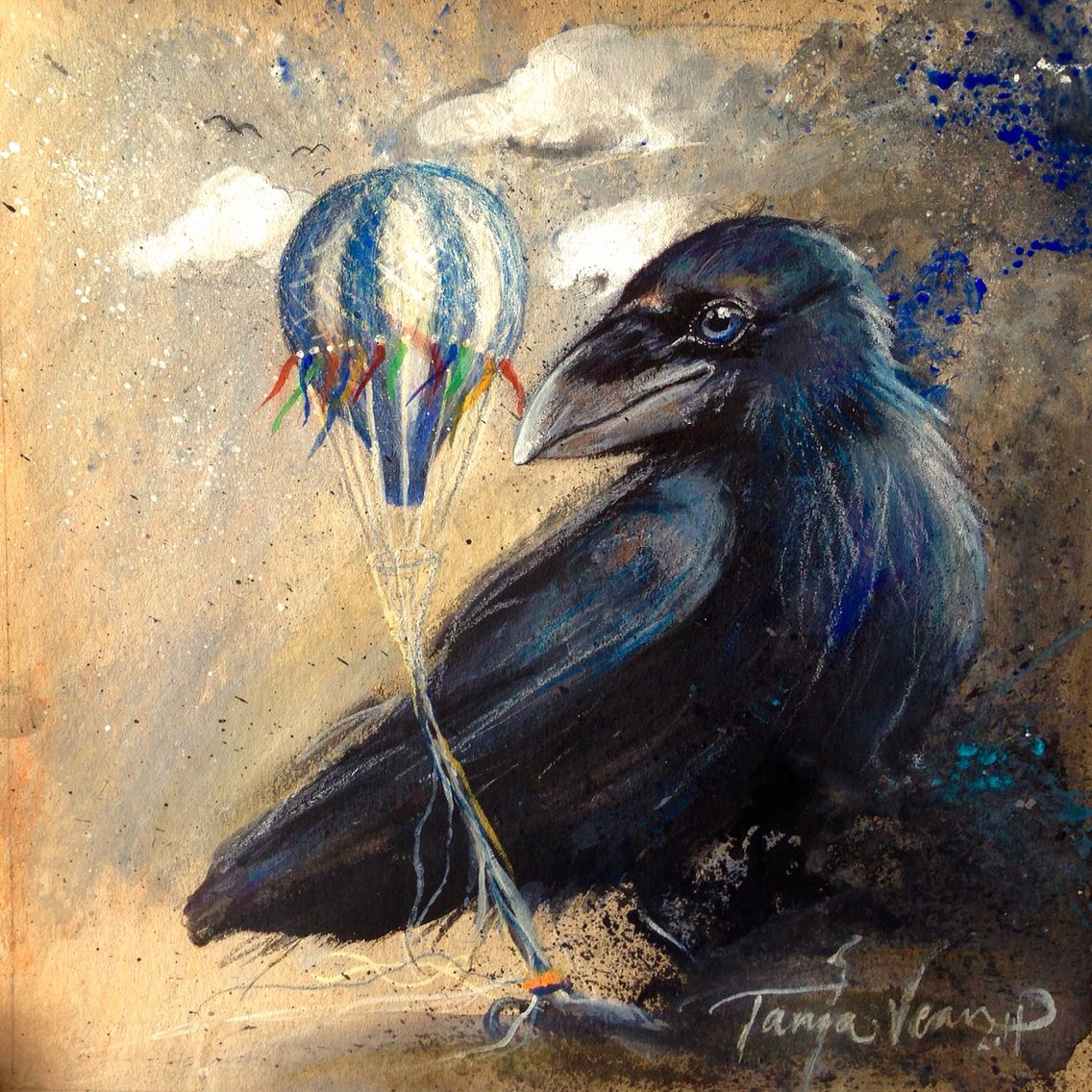 Download Raven baby painted by Tanja Vean   Birds painting, Crows ravens