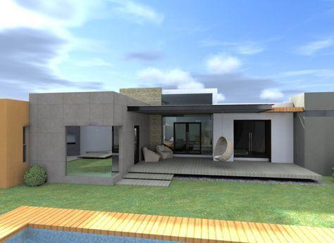Fachadas de casas modernas de una planta dise o exterior for Diseno de casas modernas de una planta