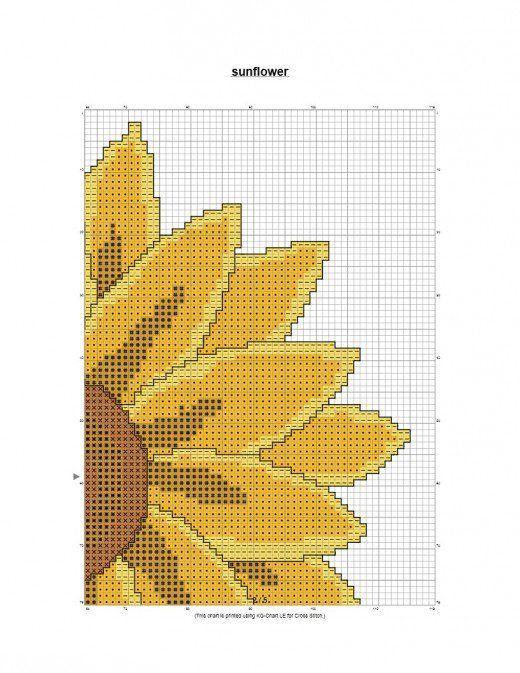 Photo of free cross stich pattern large sunflower