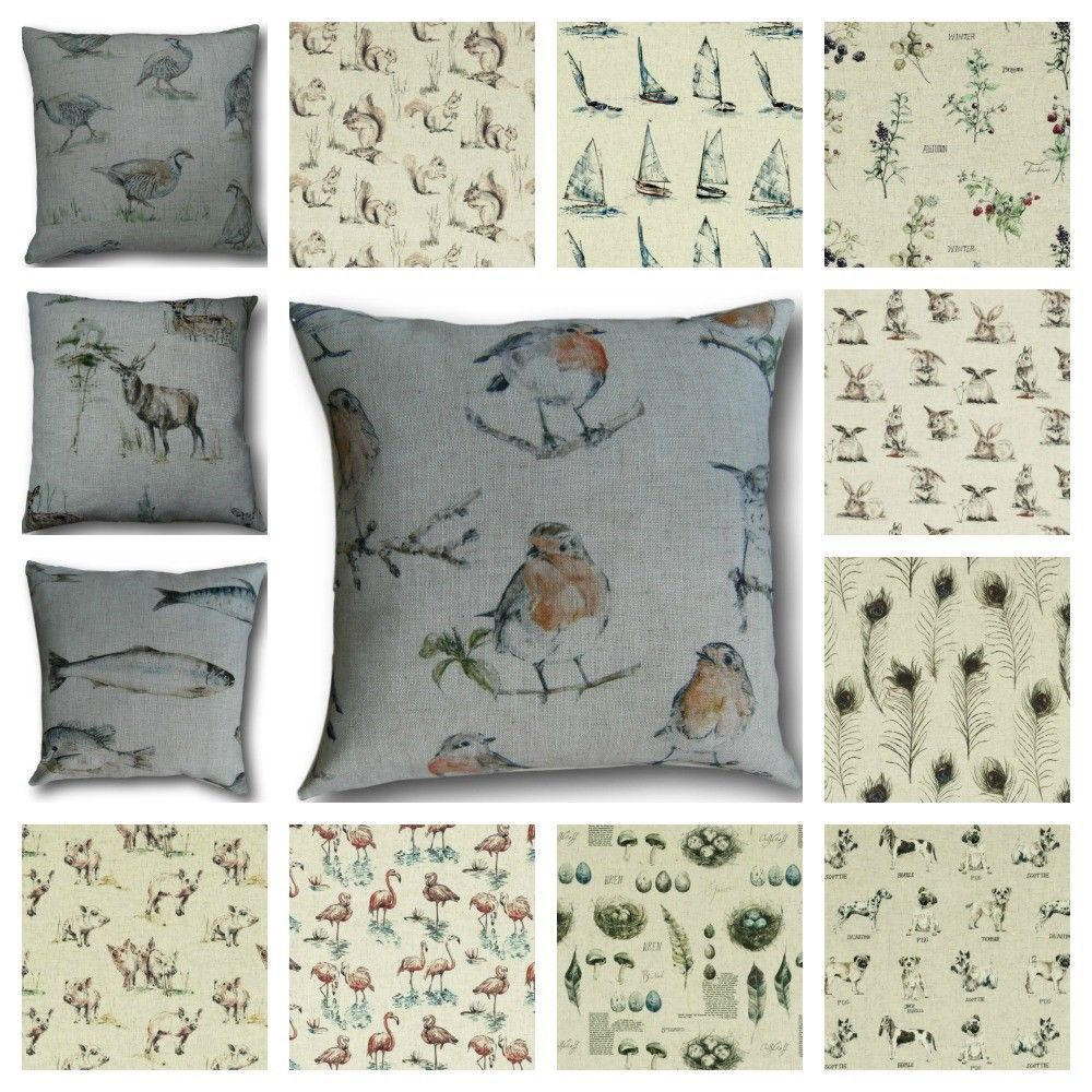 Cushion Covers Deer Pigs Cows Dogs Fish Birds Linen Look