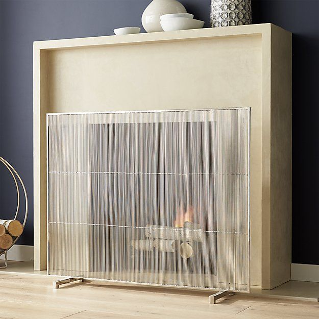 Polished Nickel Fireplace Screen Crate And Barrel Brass