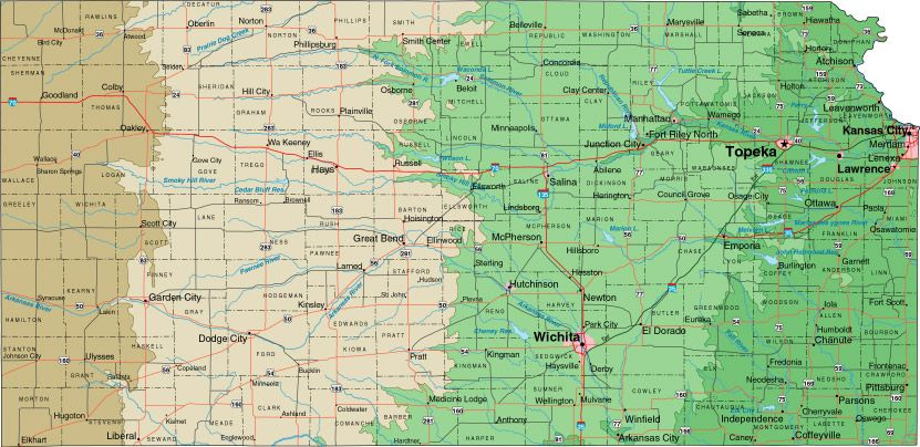 Image detail for -Kansas State Print Out Map