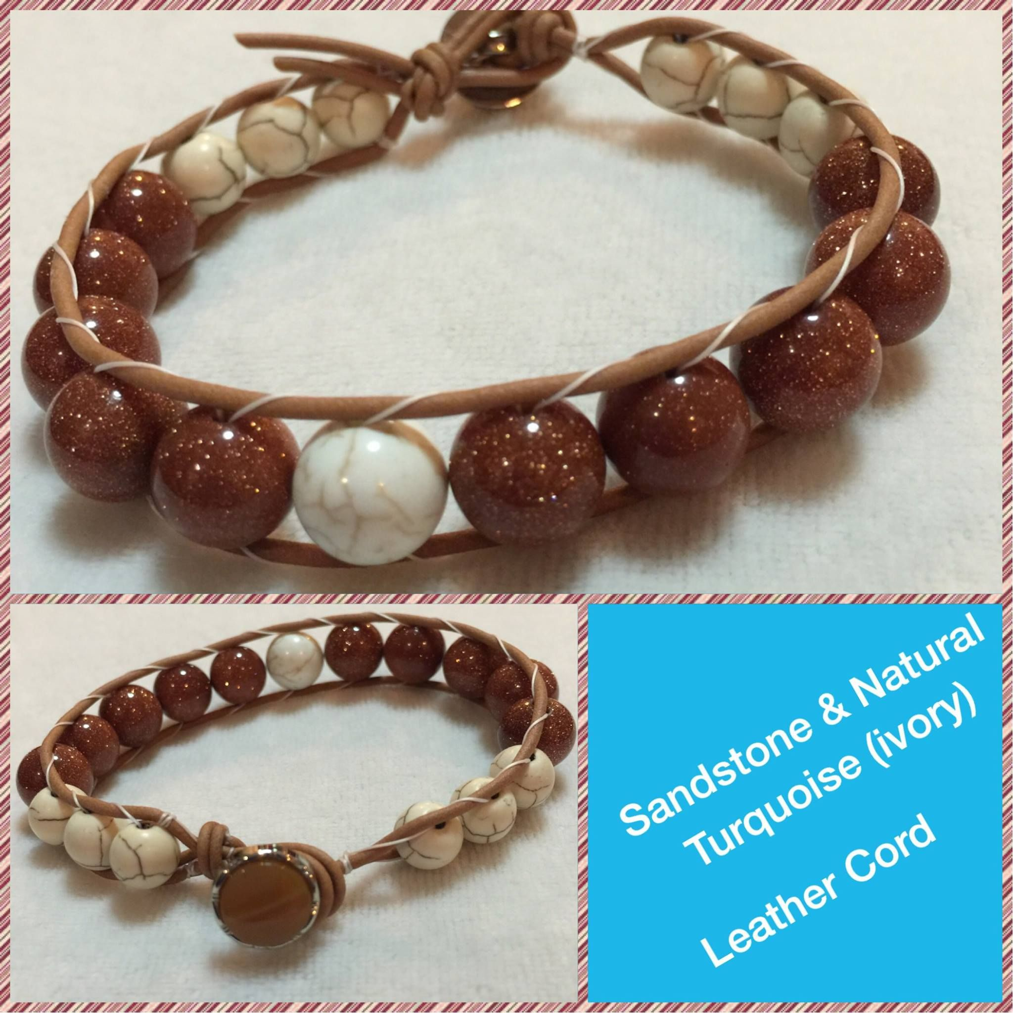 Boho Chic Leather-wrapped bracelet - Natural Ivory Turquoise and Synthetic sand stone