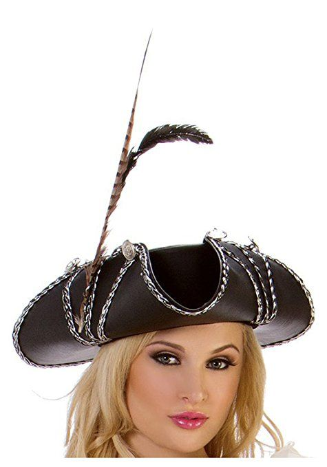 0a24f711ad5 Women s Rogue Pirate Hat Accented with Black and Silver Braid
