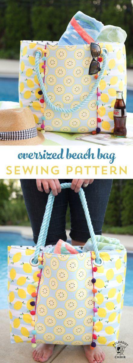 Oversized Beach Bag Sewing Pattern | Nähmuster, Niedlich und Frei