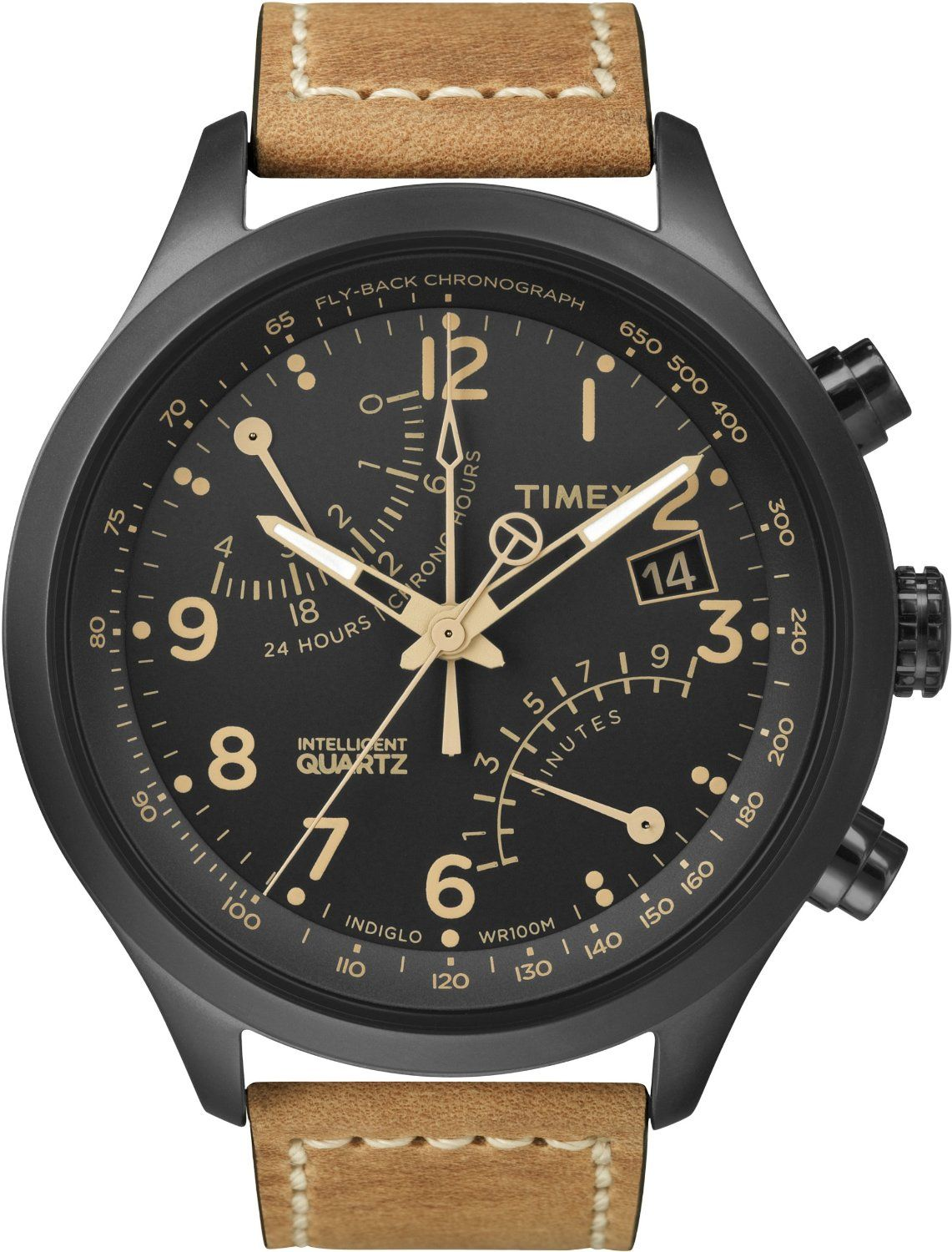 Timex Men's T2N700 Intelligent Quartz SL Series Fly-Back Chronograph Brown Leather Strap Watch: Watches: Amazon.com