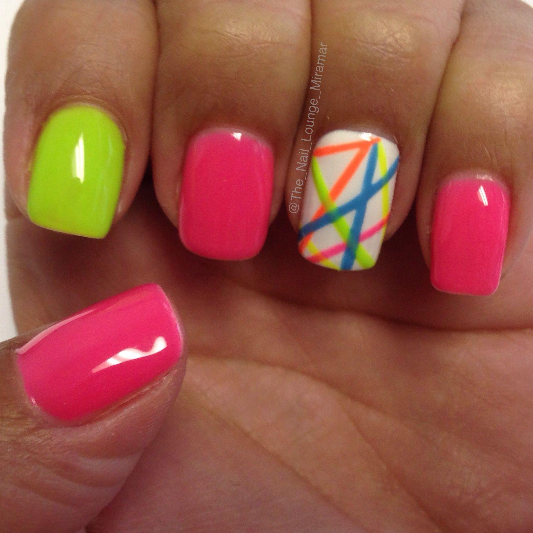 Neon lines nail art design | Nails | Pinterest | Nail art, Nail art ...