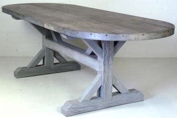 Furniture Poetic Wanderlust Modern Vintage Table Aged Zinc Top LLH DESIGNS