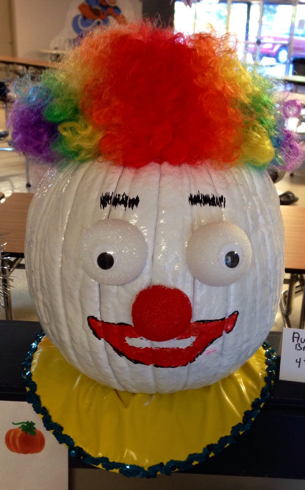 School pumpkin decorating contest. Clowns are scary but this