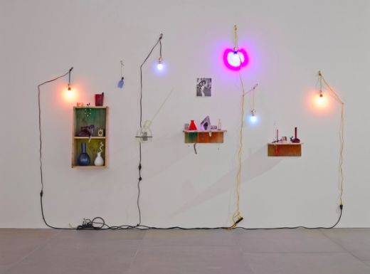 Elias Hansen, Love, 2014 Found objects, glass, light bulbs, naked lady cards, photograph, steel, wire, and wood