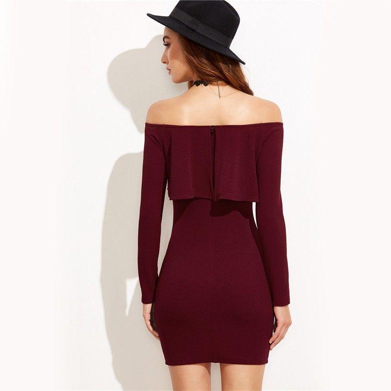 Vestido Vinotinto Hombros Destapados - RVES079