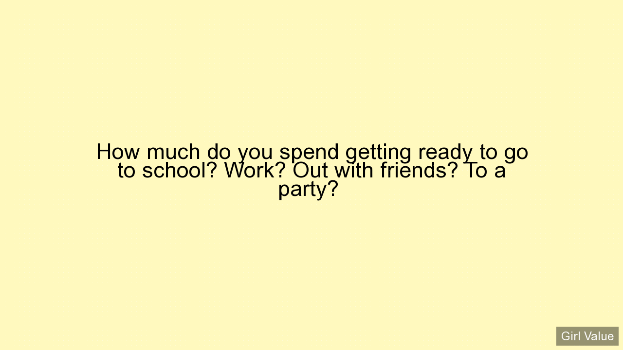 How much do you spend getting ready to go to school? Work? Out with friends? To a party?