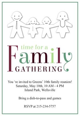 Time For A Family Gathering   Free Printable Family Reunion Invitation  Template