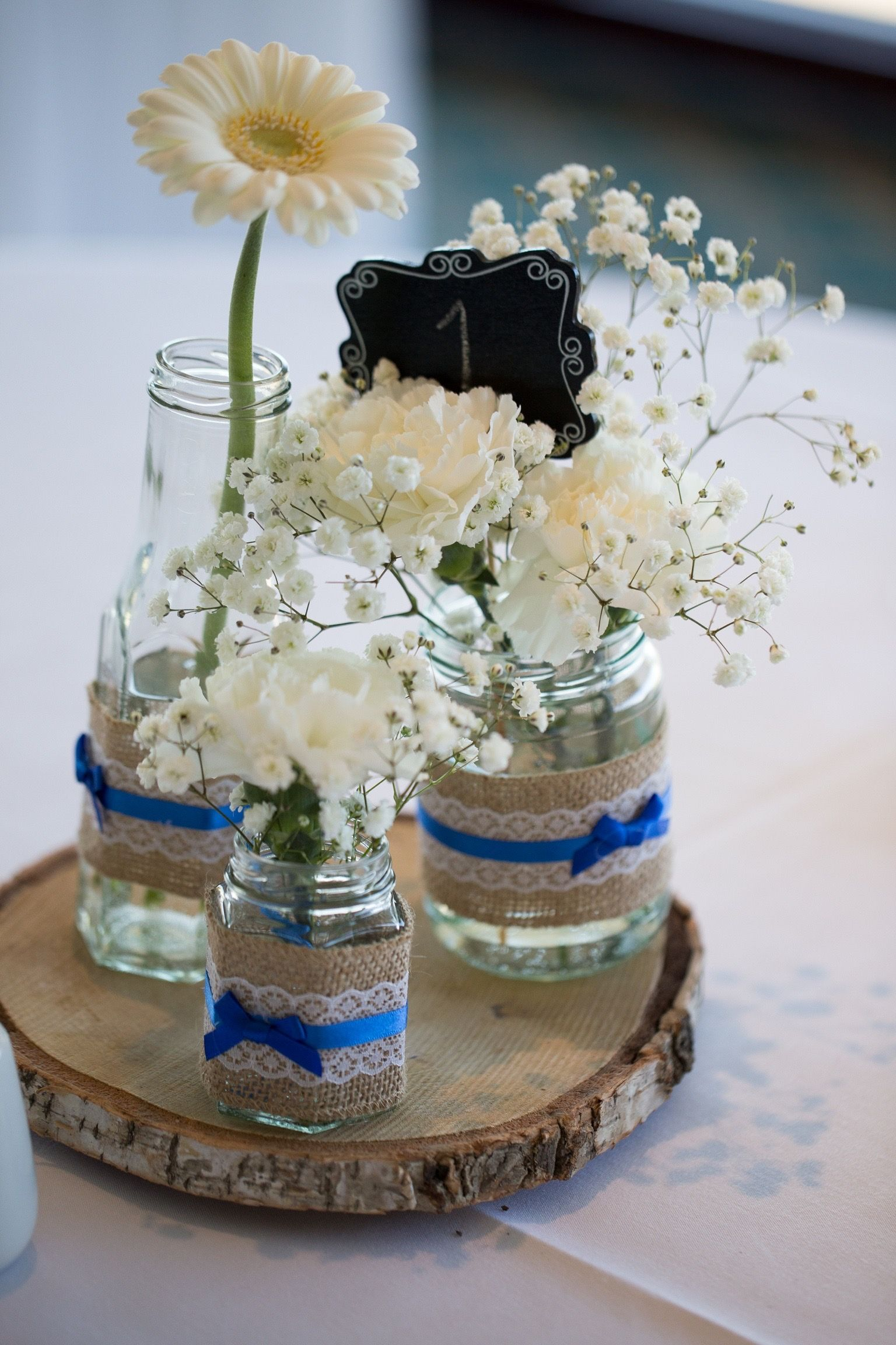 Handmade Mason Jar Decor Using Hessian With White Lace And Added