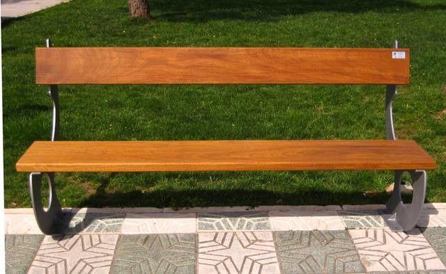 Banco de madera y l mina para jardin 005 mobiliario para el jardin en madera y hierro pinterest - Bancos de hierro para jardin ...
