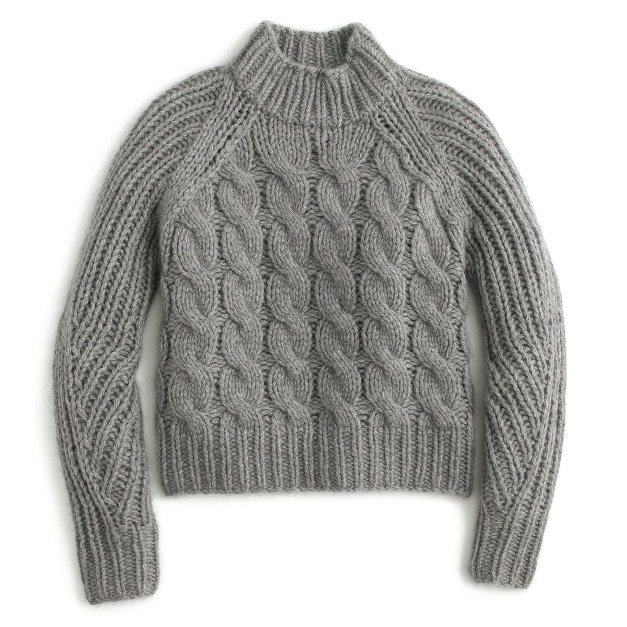 J.Crew Womens Collection Italian Cashmere-Mohair Cable Mock Neck ...