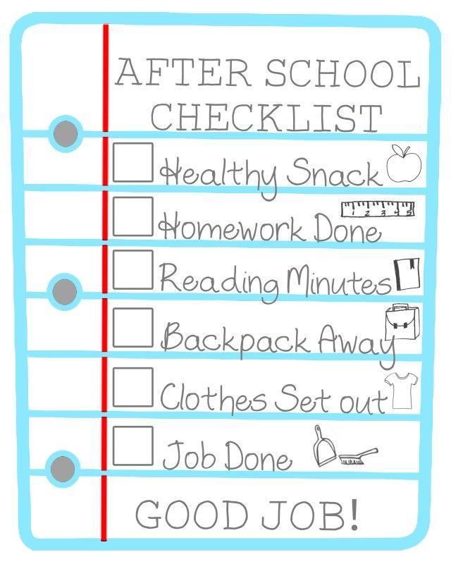 After School Checklist for Kids Free Printable School checklist - kids behavior chart template